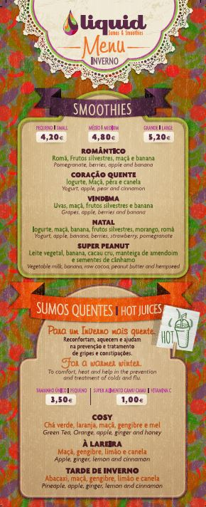 Beauty Airlines menu Liquid inverno